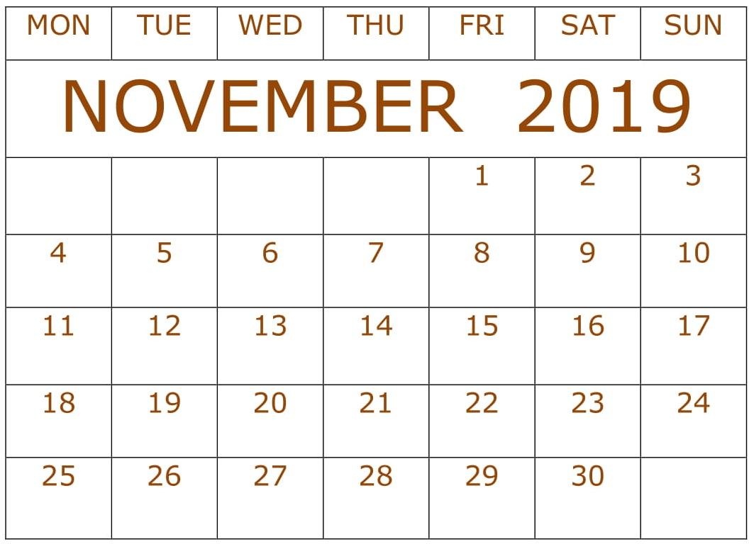 November 2019 Printable Calendar Editable Template