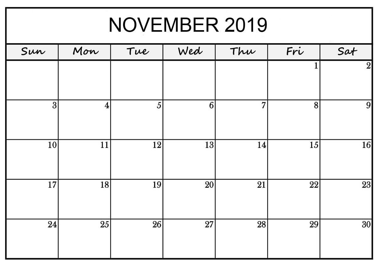 November 2019 Printable Calendar Word