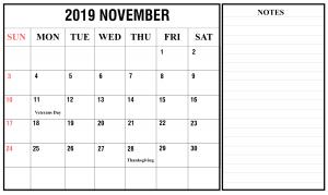 November 2019 Printable Calendar with Notes