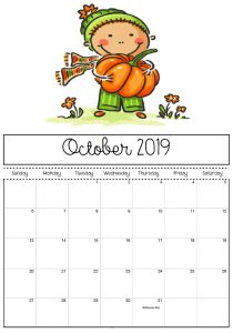 October 2019 Calendar Cute For Kids