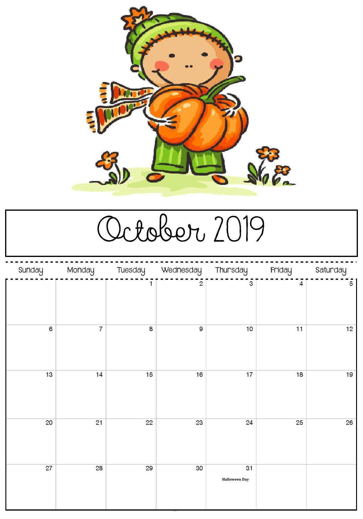 October 2019 Calendar Cute For Kids