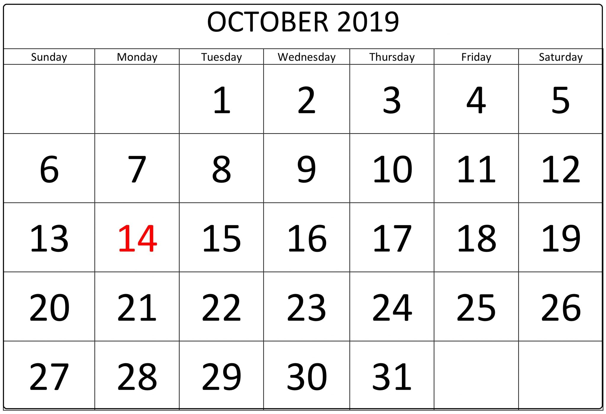 October 2019 Calendar Template With Holidays