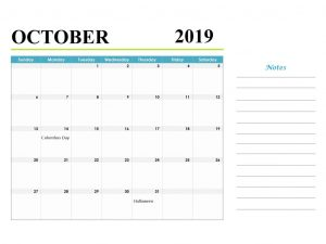 October 2019 Calendar With Holidays and Notes