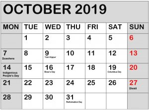 October 2019 Calendar With National Holidays
