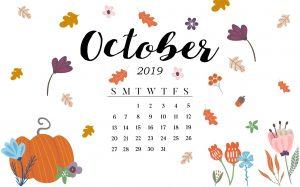 October 2019 Desktop Calendar Wallpaper