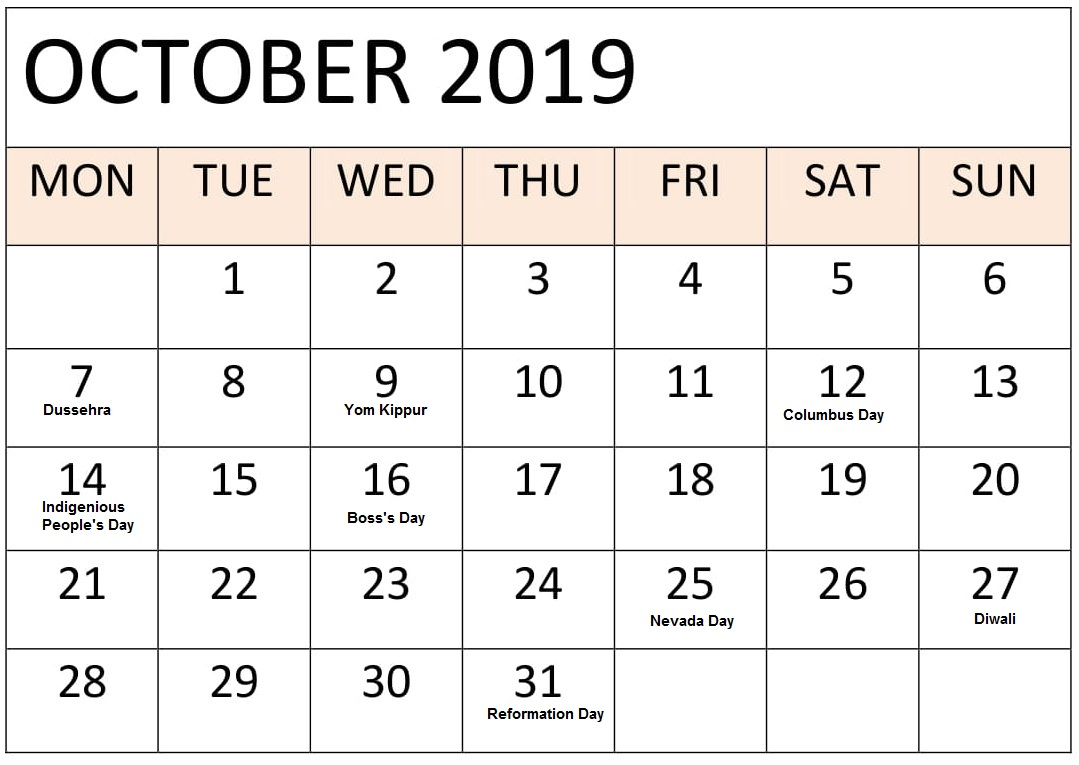 October 2019 Holidays Calendar Template