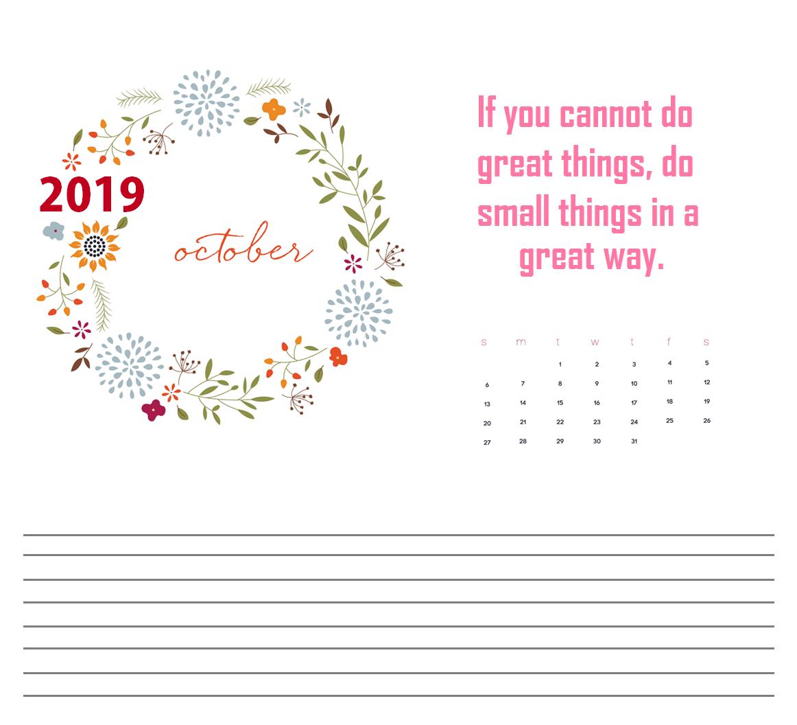 October 2019 Quotes Calendar For Desk