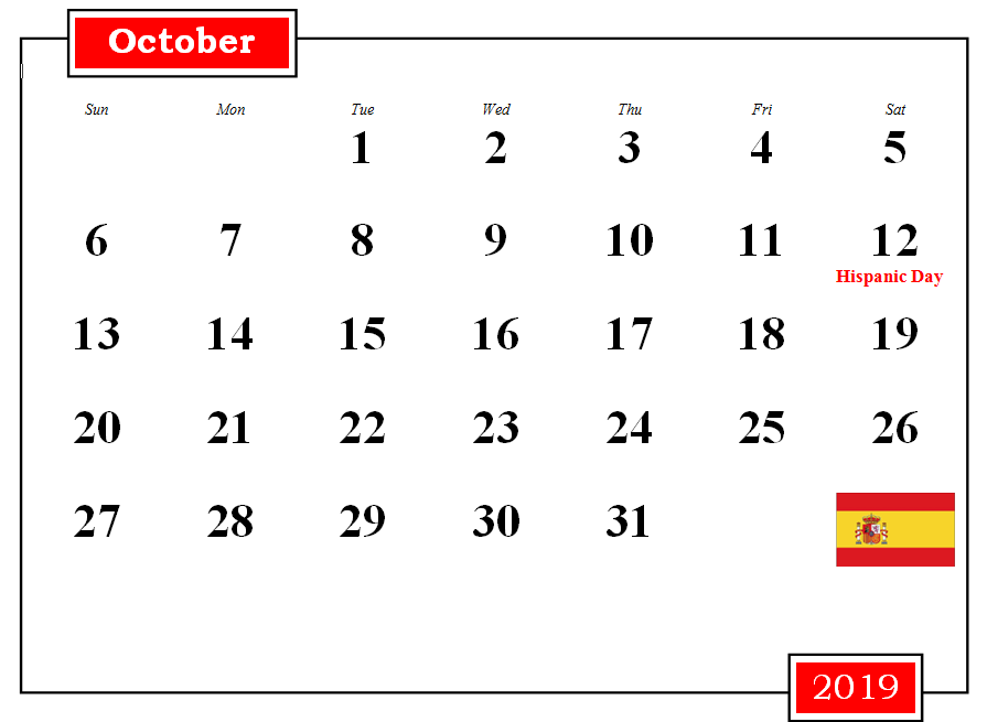 October 2019 Spain Holidays Calendar