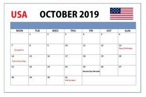 October 2019 USA Holidays Calendar