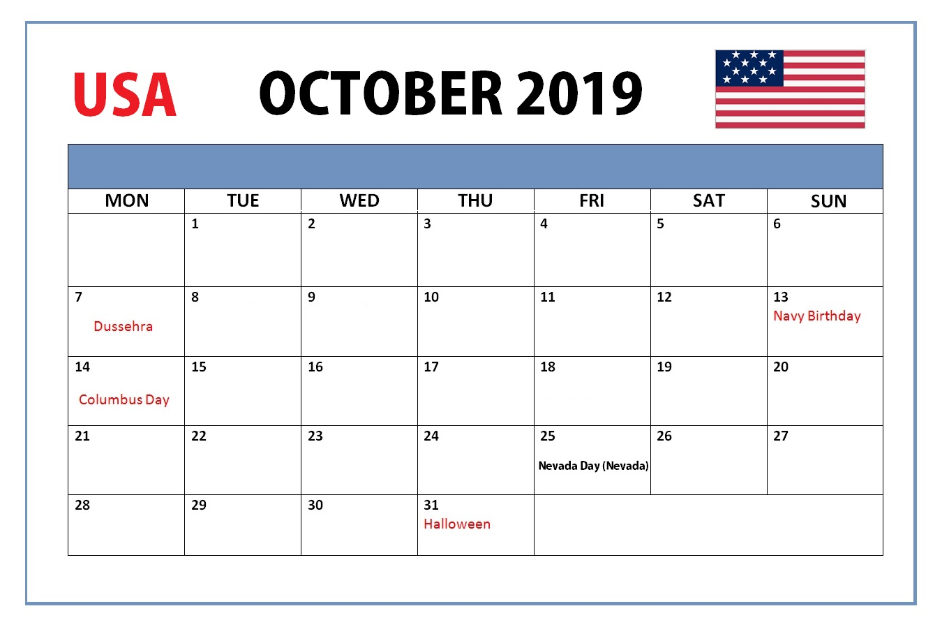 October 2019 USA Holidays Calendar