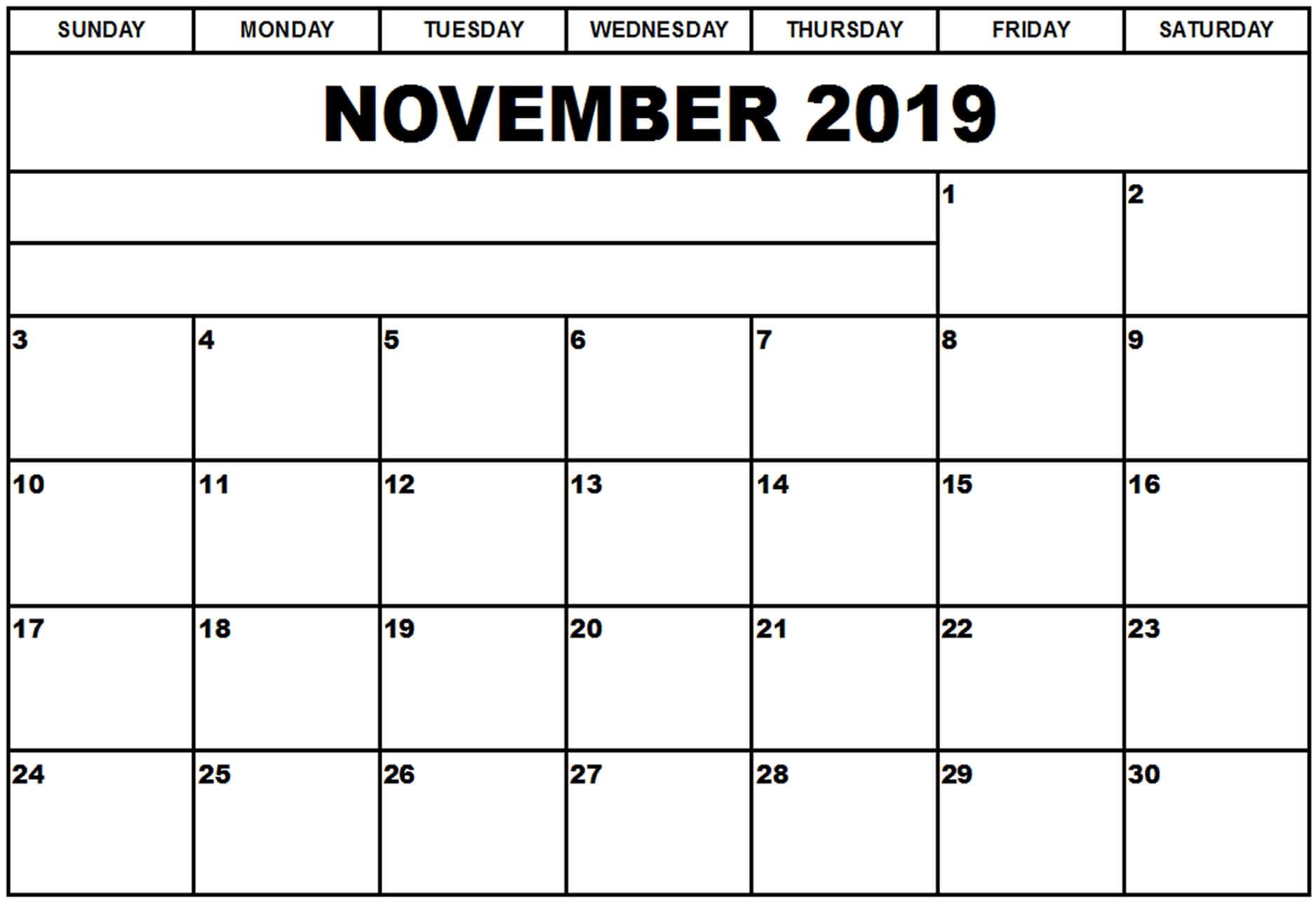 Online November 2019 Blank Calendar