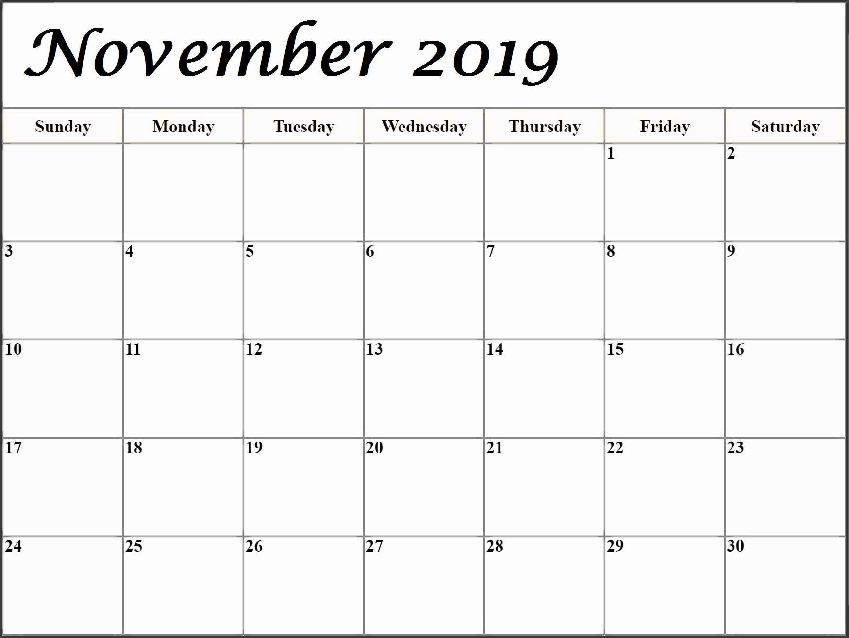 Printable November 2019 Calendar Blank