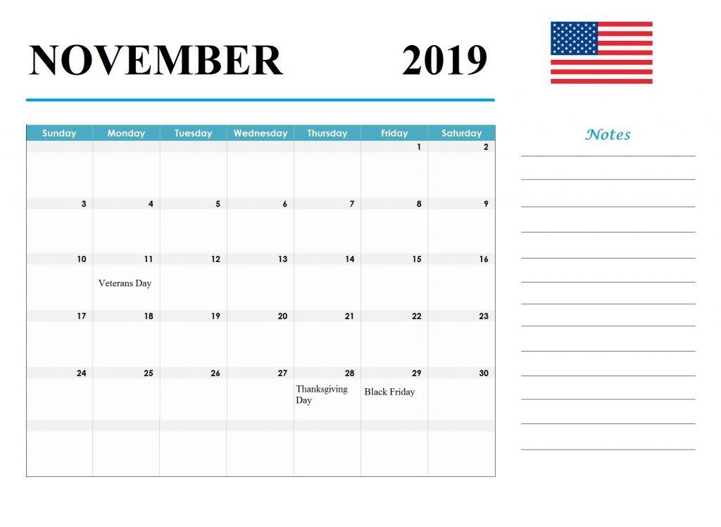 USA November 2019 Holidays Calendar