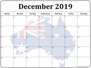 Australia Holidays Calendar December 2019