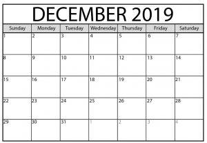 Blank Calendar December 2019 Editable