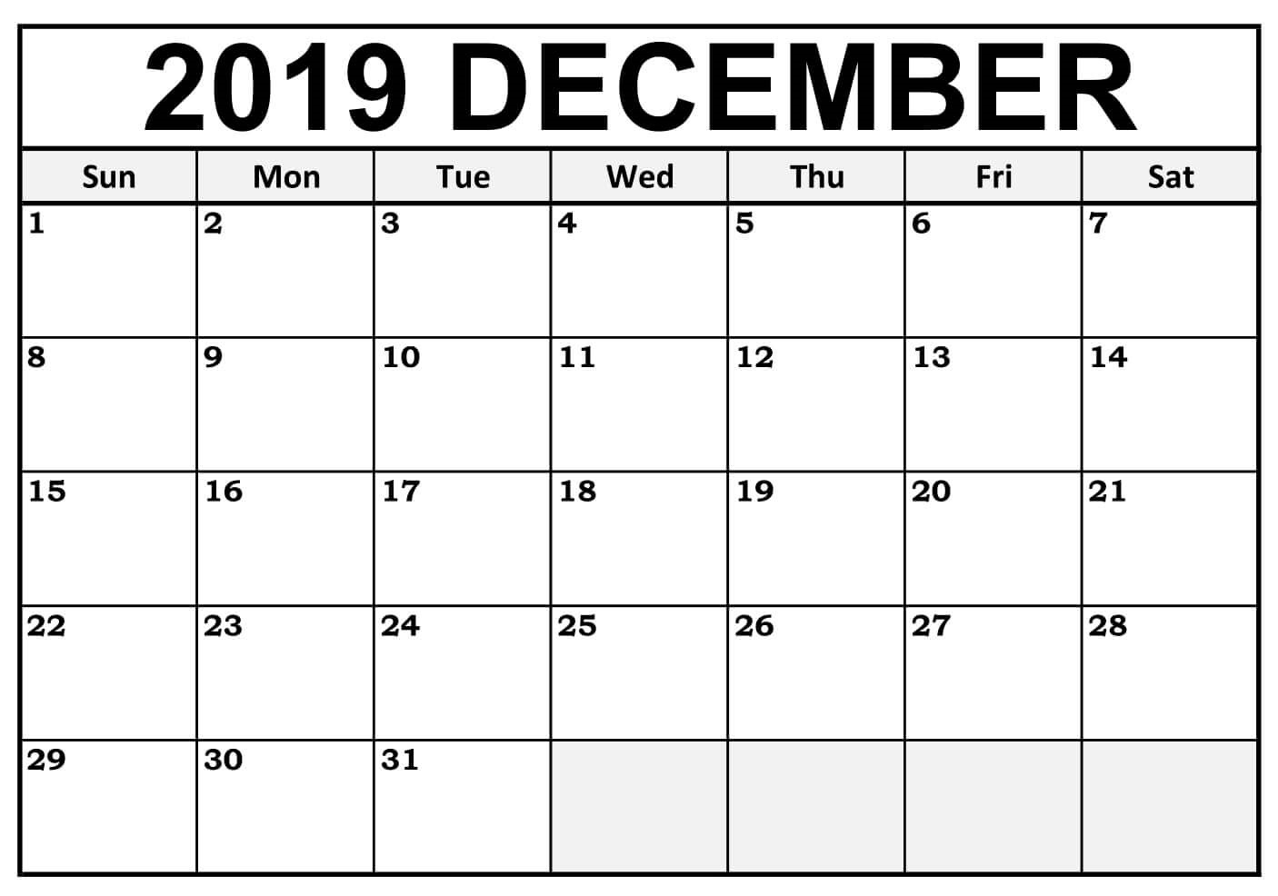 Blank December 2019 Calendar Printable Template