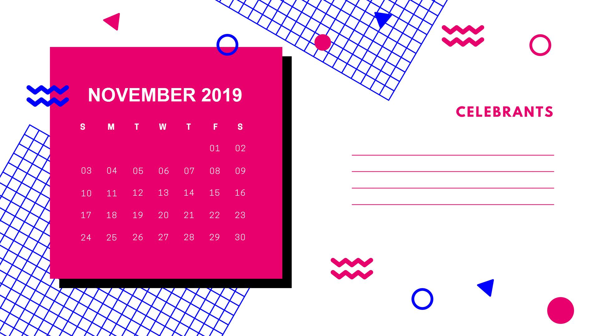 Cute November 2019 Calendar Template with Notes