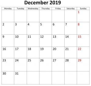 December 2019 Calendar Editable Blank Template