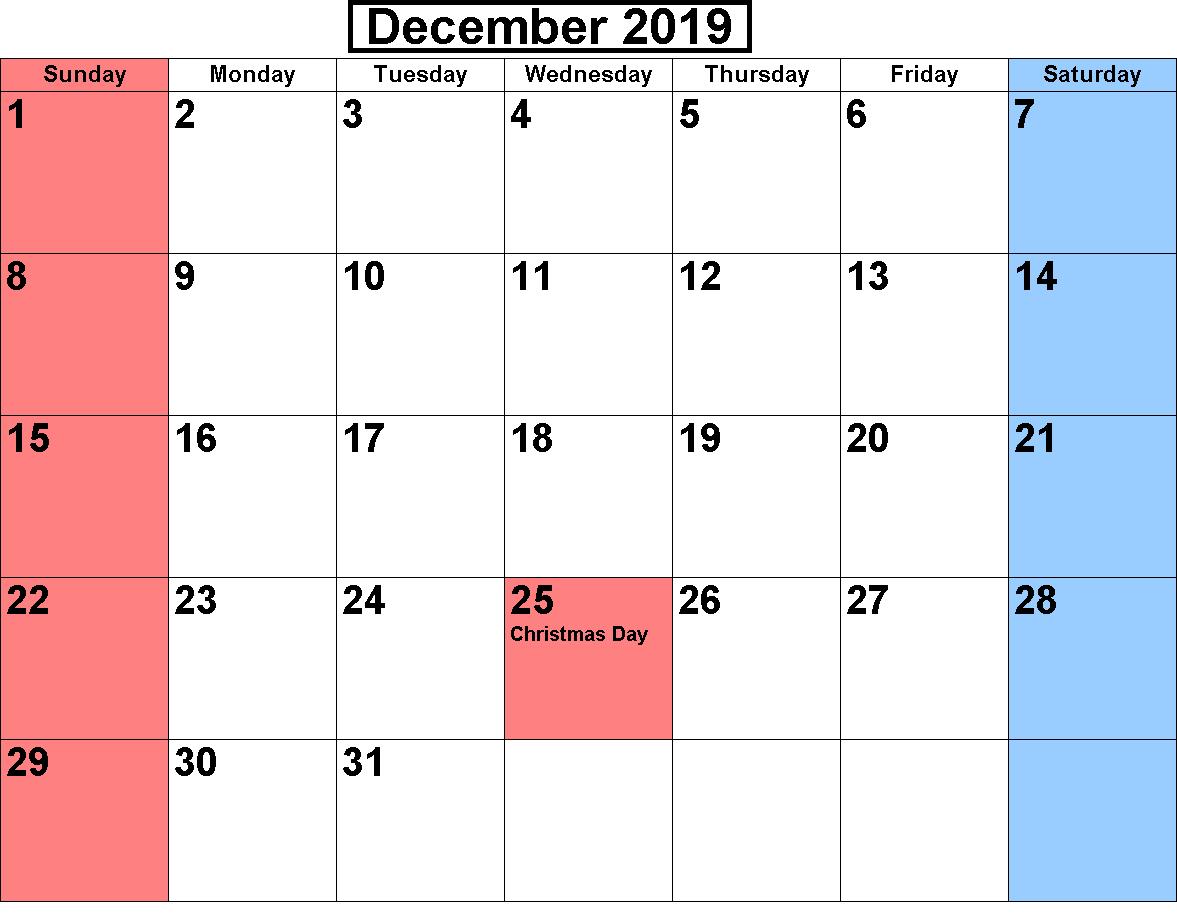 December 2019 Calendar With Holidays