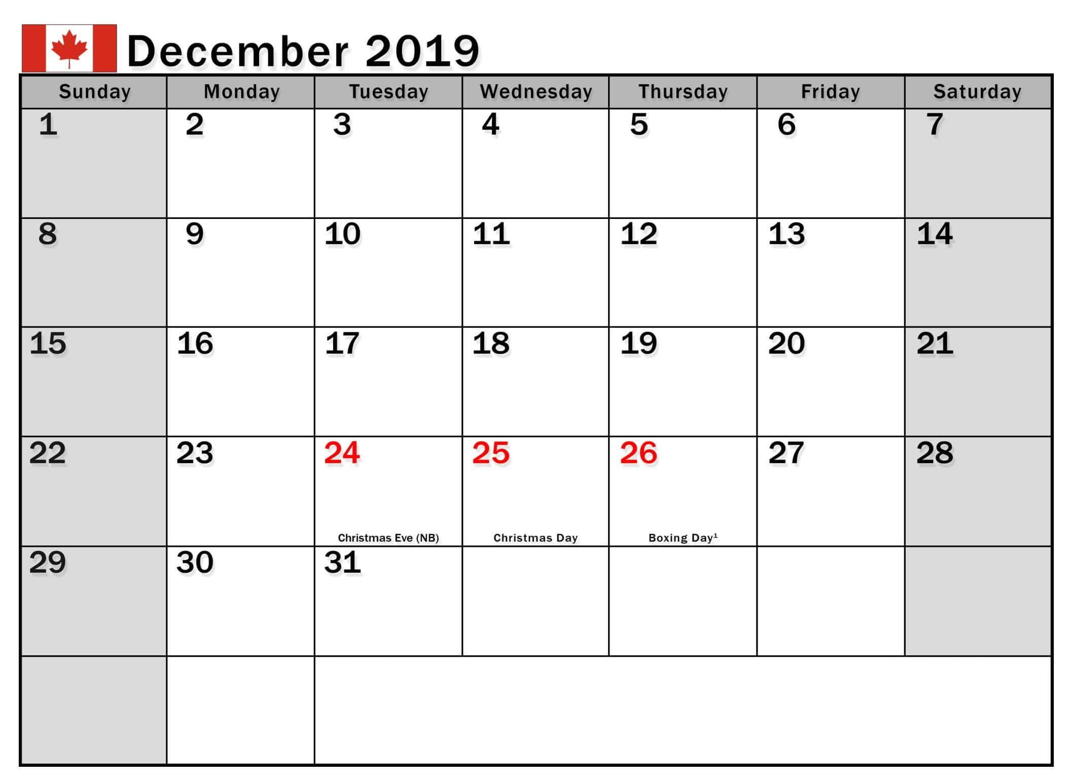 December 2019 Canada Holidays Calendar