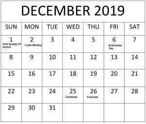 December 2019 Federal Holidays Calendar