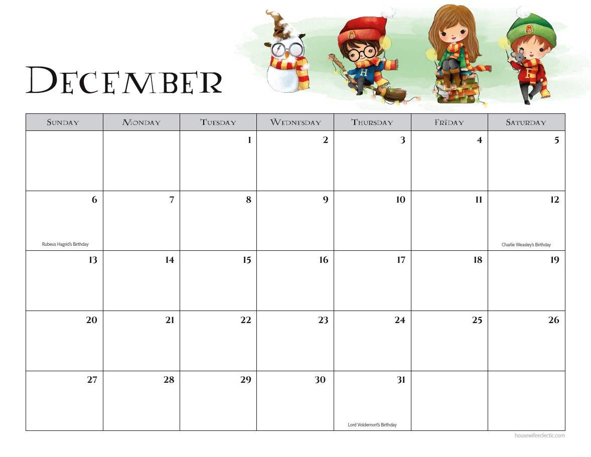 December 2019 Printable Calendar For Kids