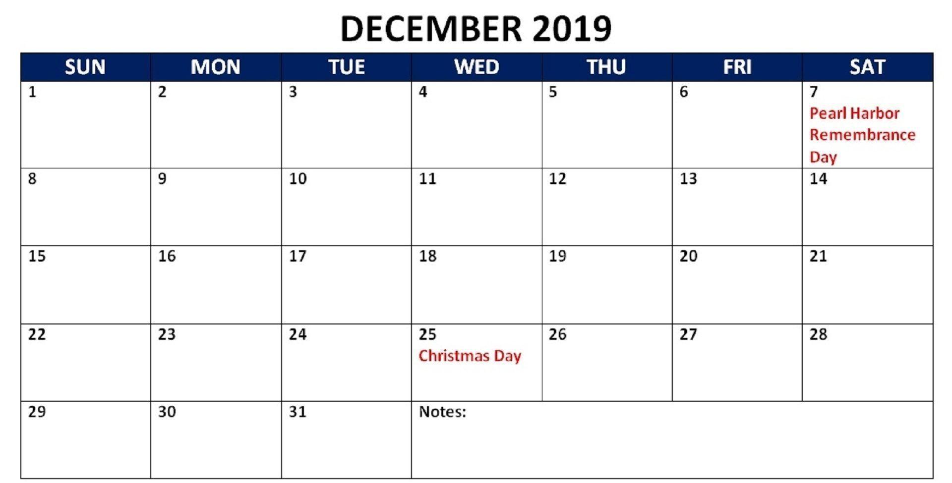 December 2019 USA Holidays Calendar