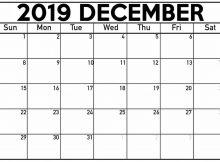 Editable Calendar December 2019