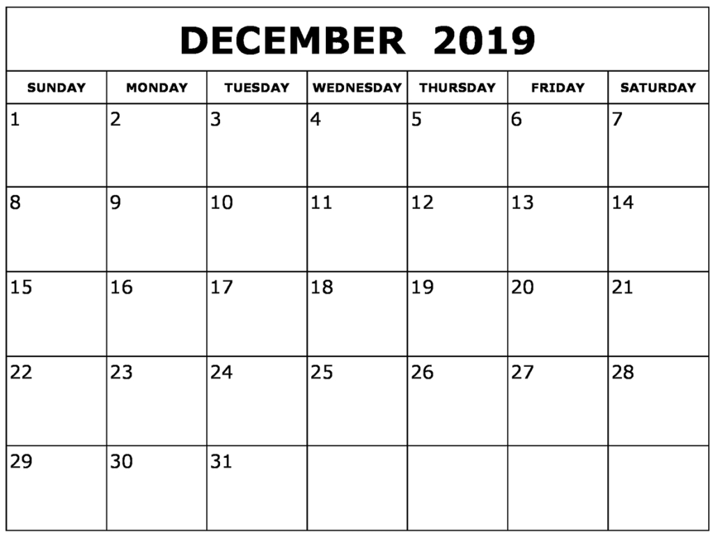 Editable December 2019 Calendar Template