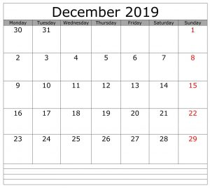 Editable December 2019 Calendar Word