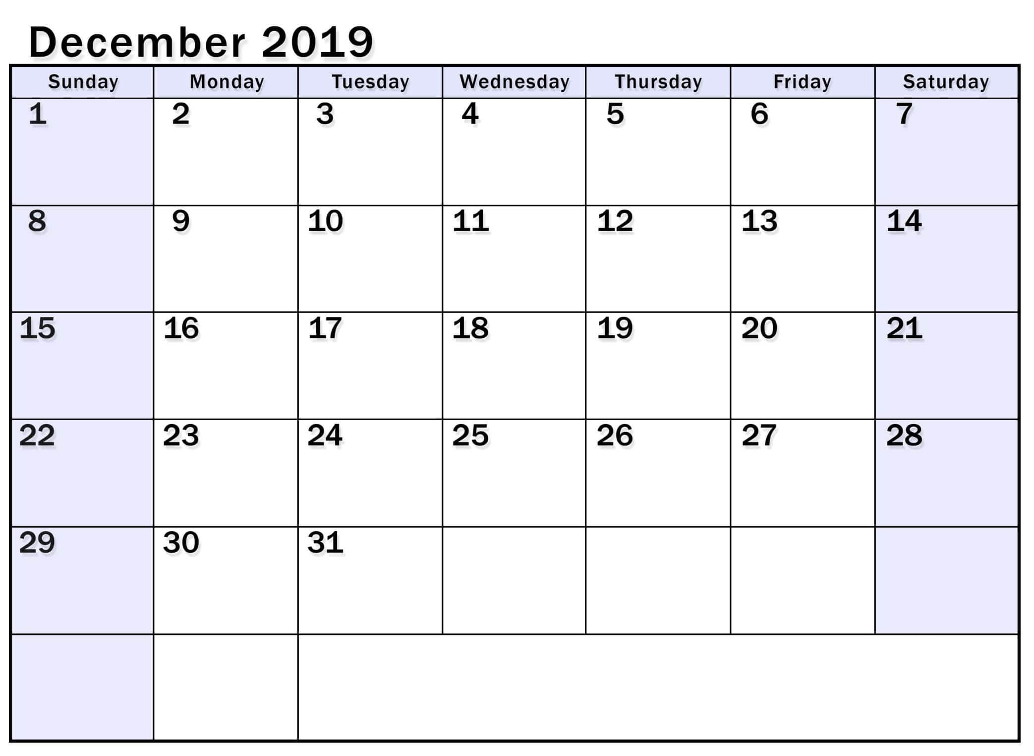 Editable December 2019 Calendar