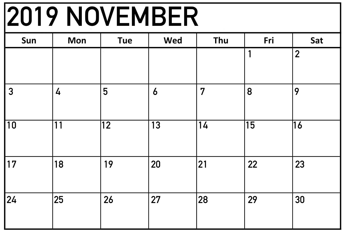 Editable Free Printable November 2019 Calendar