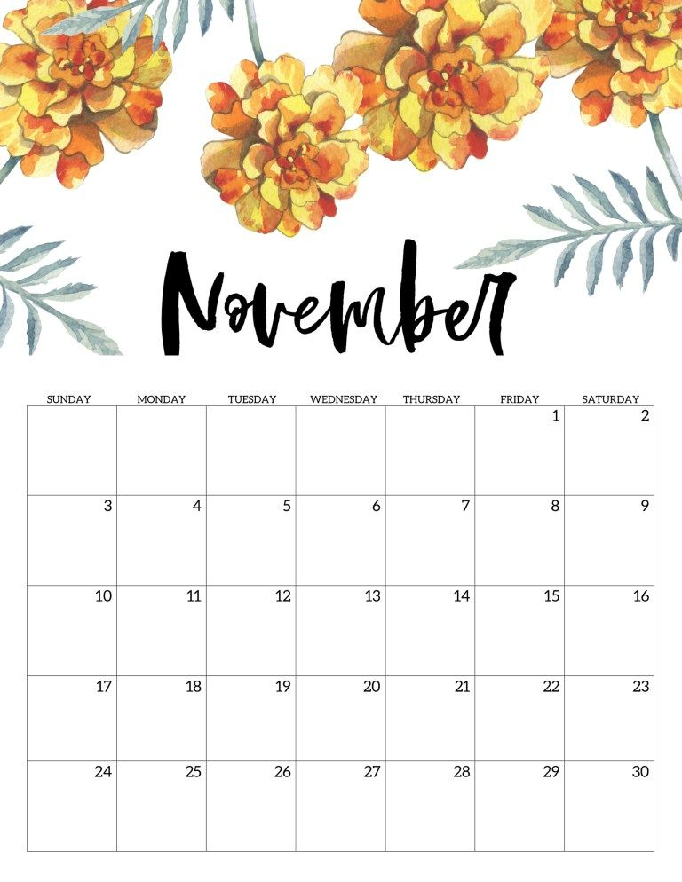 Floral November 2019 Calendar Template