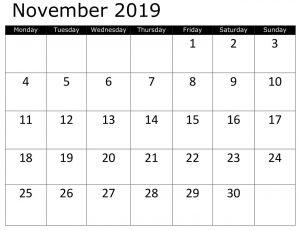 Free Calendar Template November 2019