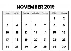 Free Printable November 2019 Calendar Template