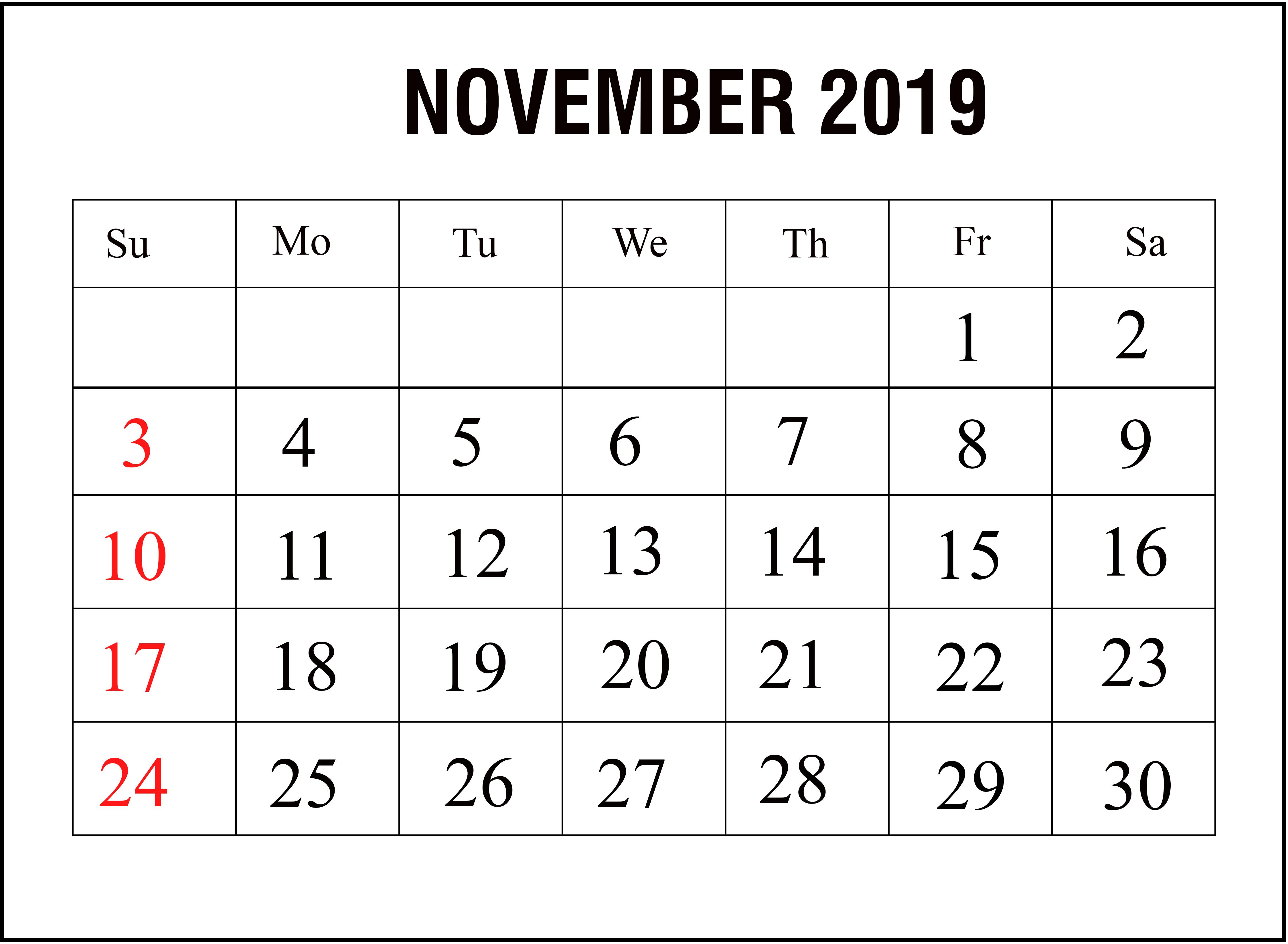 Monthly Calendar Template November 2019