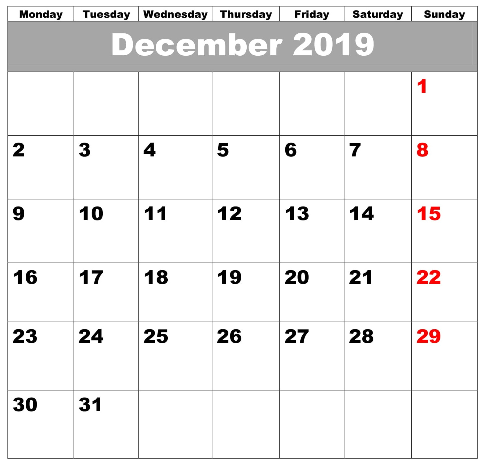 Monthly Editable Calendar Template December 2019