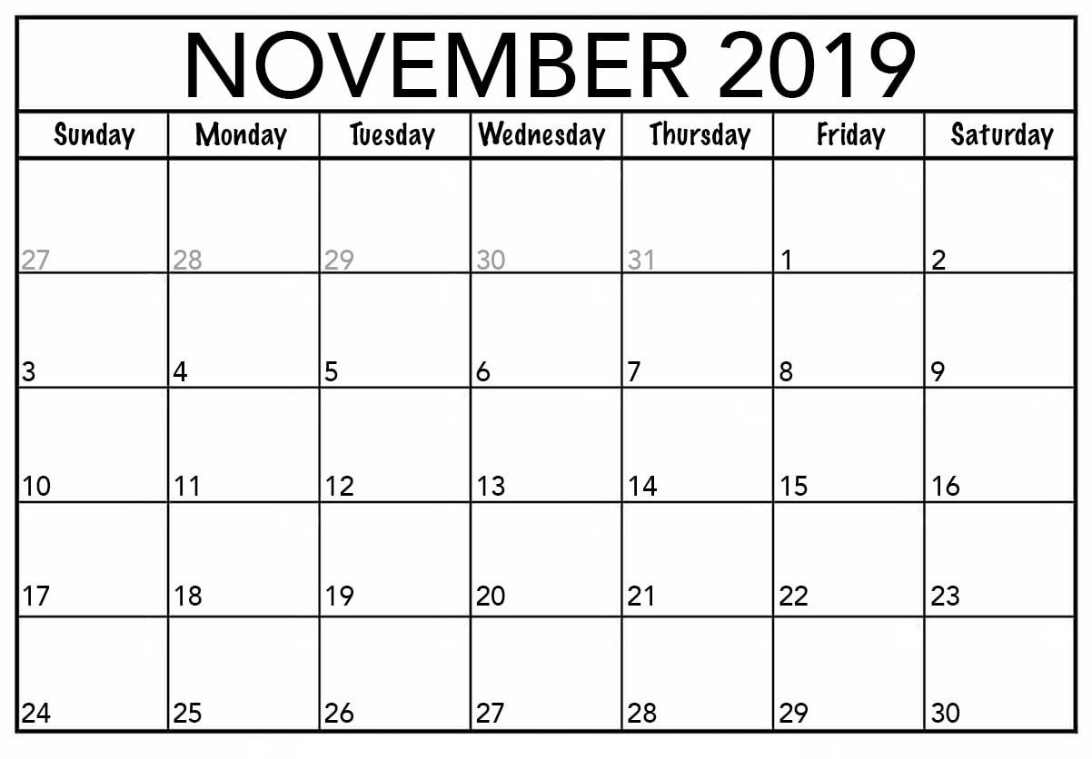 Monthly Printable November 2019 Calendar Template