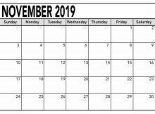 November 2019 Calendar Template PDF