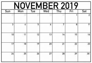 November 2019 Calendar Template Word