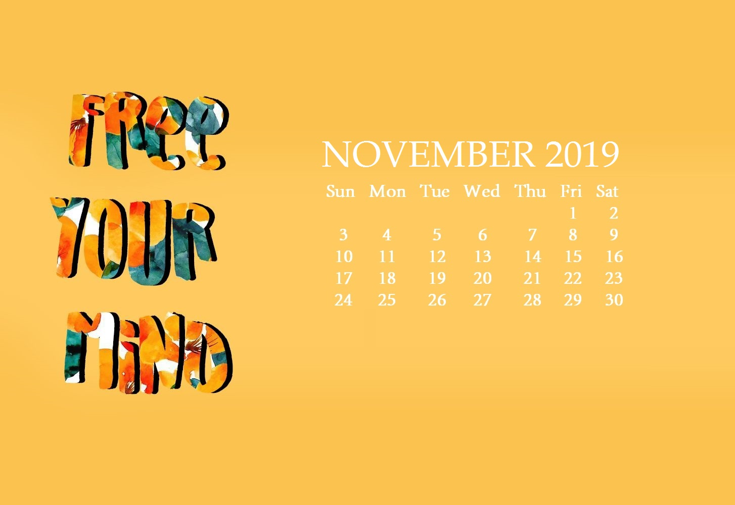 November 2019 Cute Background Calendar