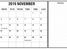 November 2019 Editable Calendar One Page