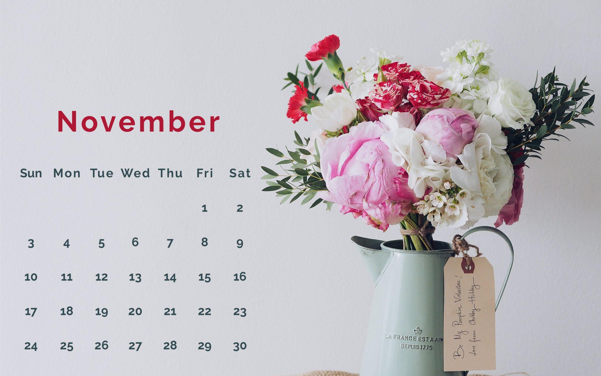 November 2019 PC Background Calendar Wallpaper