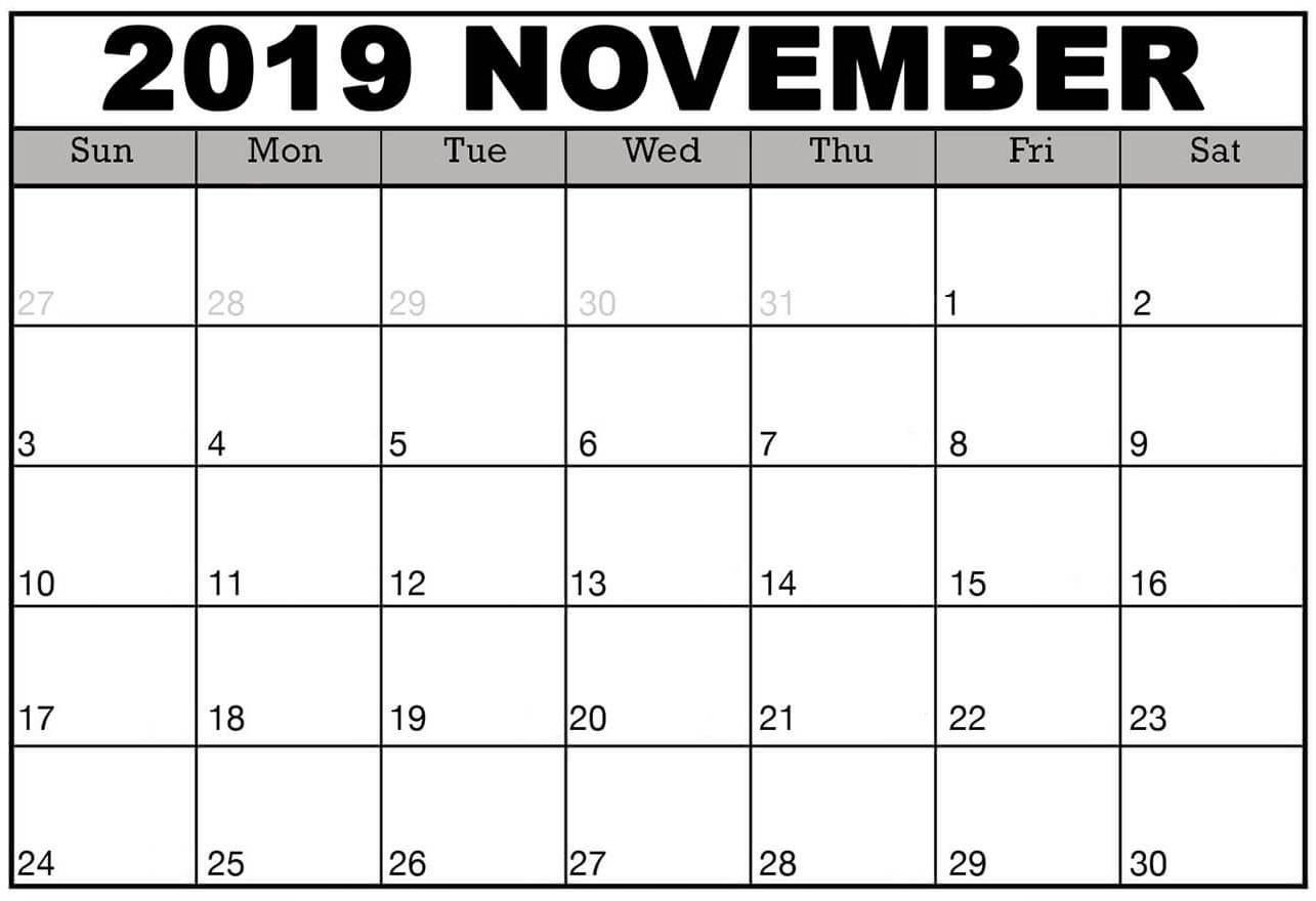 Online November 2019 Editable Calendar