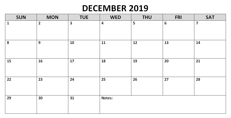 Print December 2019 Calendar
