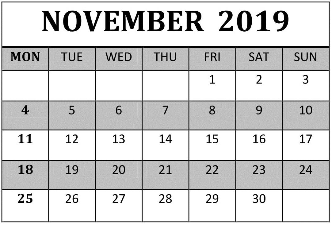 Print November 2019 Calendar Blank Template