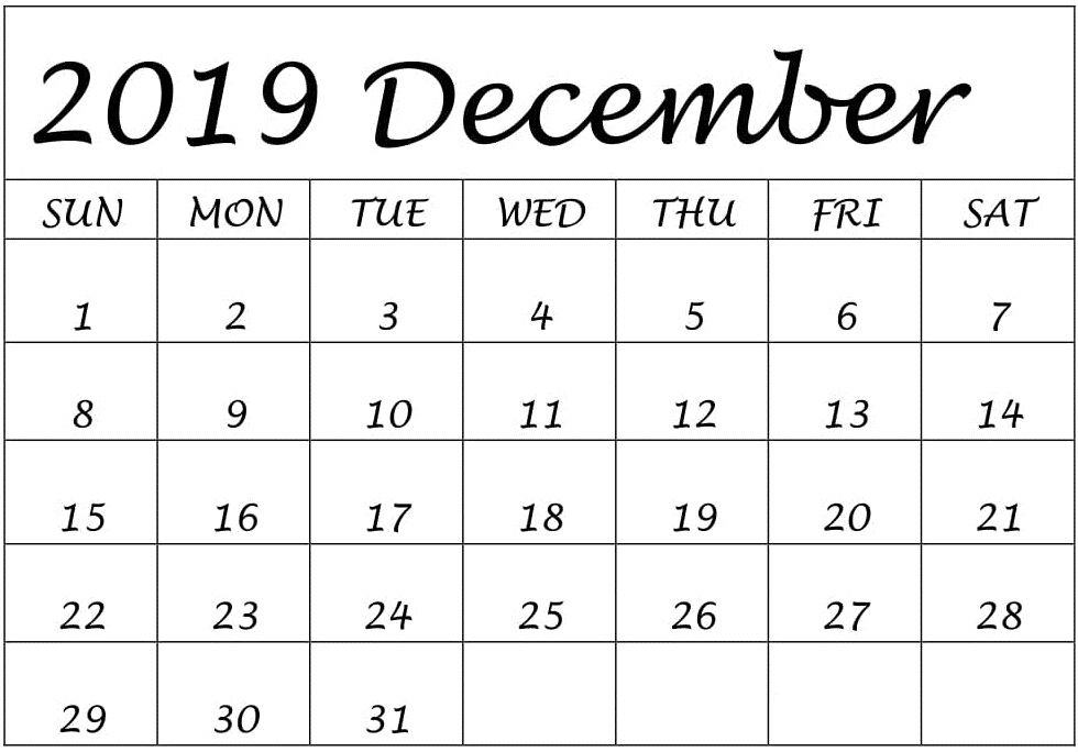 Printable Calendar December 2019 Editable