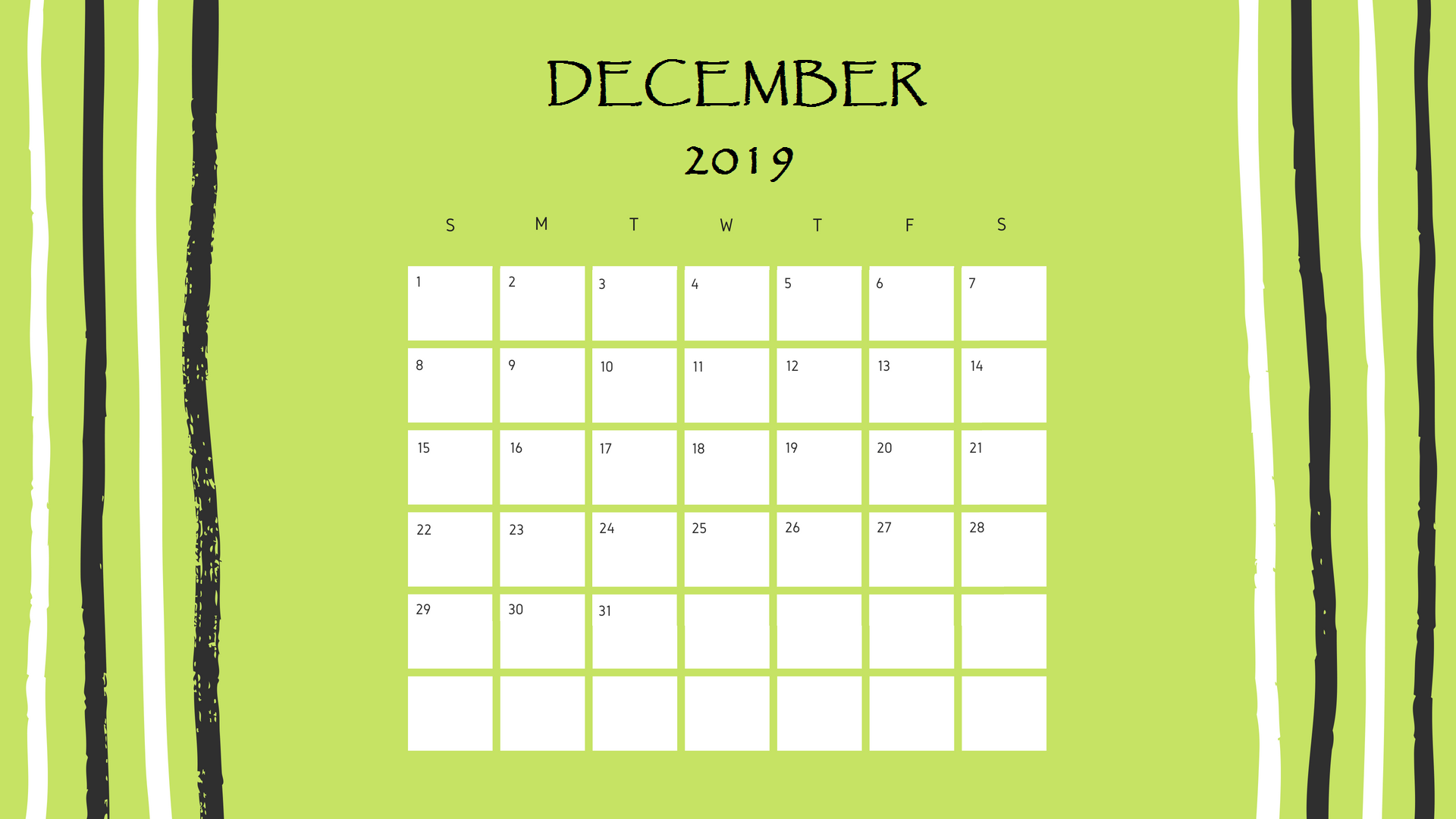 Printable December 2019 Desk Calendar