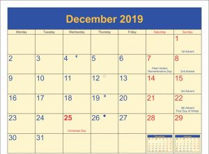 Printable December 2019 Holidays Calendar