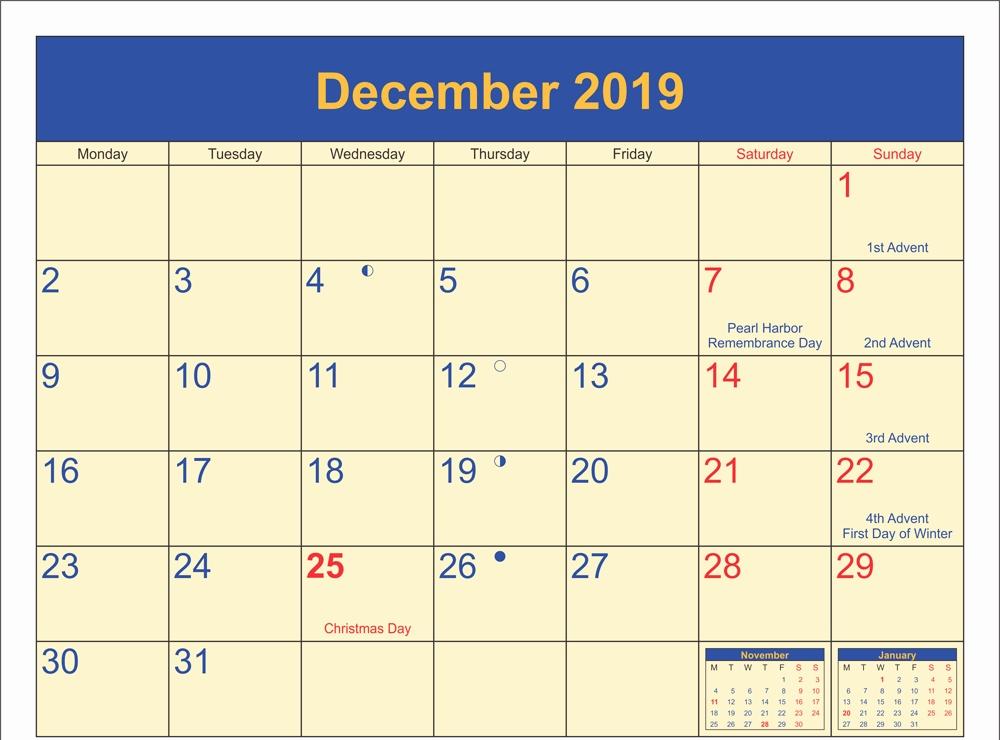 Printable December 2019 Holidays Calendar